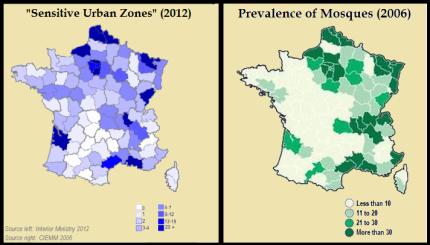 """Også i Frankrig vokser antallet at det, man kalder """"følsomme områder"""" i takt med moskébyggerierne."""