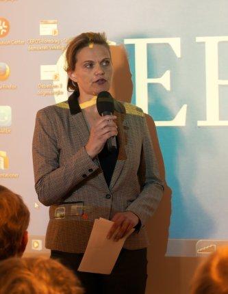 Sørine Gotfredsen stillede kritiske spørgsmål til Krarups forståelse af folket. FOTO: Thomas Fog