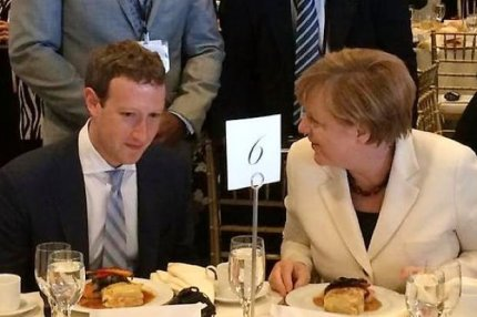 Mark Zuckerberg og Angela Merkel til FN-middag.