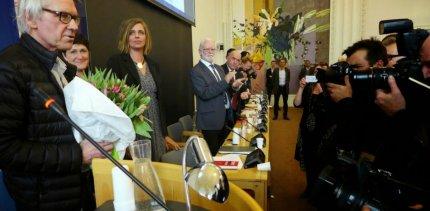 Pressen var på plads, da Lars Vilks modtog Sapphoprisen. FOTO: Steen Raaschou