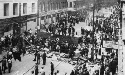 Barrikade på Nørrebrogade under Folkestrejken sommeren 1944