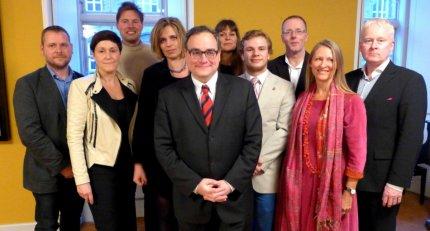 Trykkefrihedsselskabets bestyrelse 2014 med Ezra Levant. FOTO: Steen Raaschou